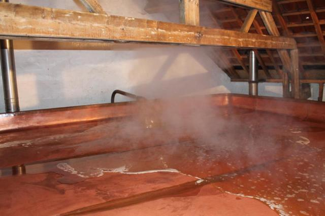 4:05PM: Wort arrival on the coolship.